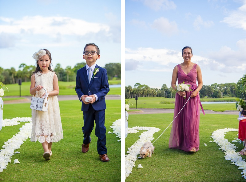 flower girl, ring bearer, wedding dog, maid of honor, dog-friendly wedding | ©Toni Jade Photography | adorable wedding dog