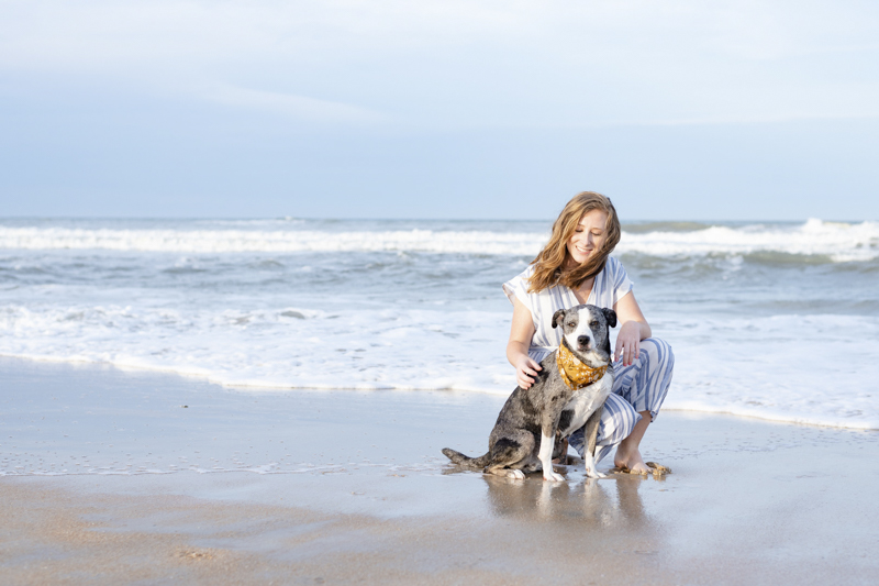 Catahoula mix and her girl, lifestyle dog photography, ©1416 Photography, Marineland Beach Florida