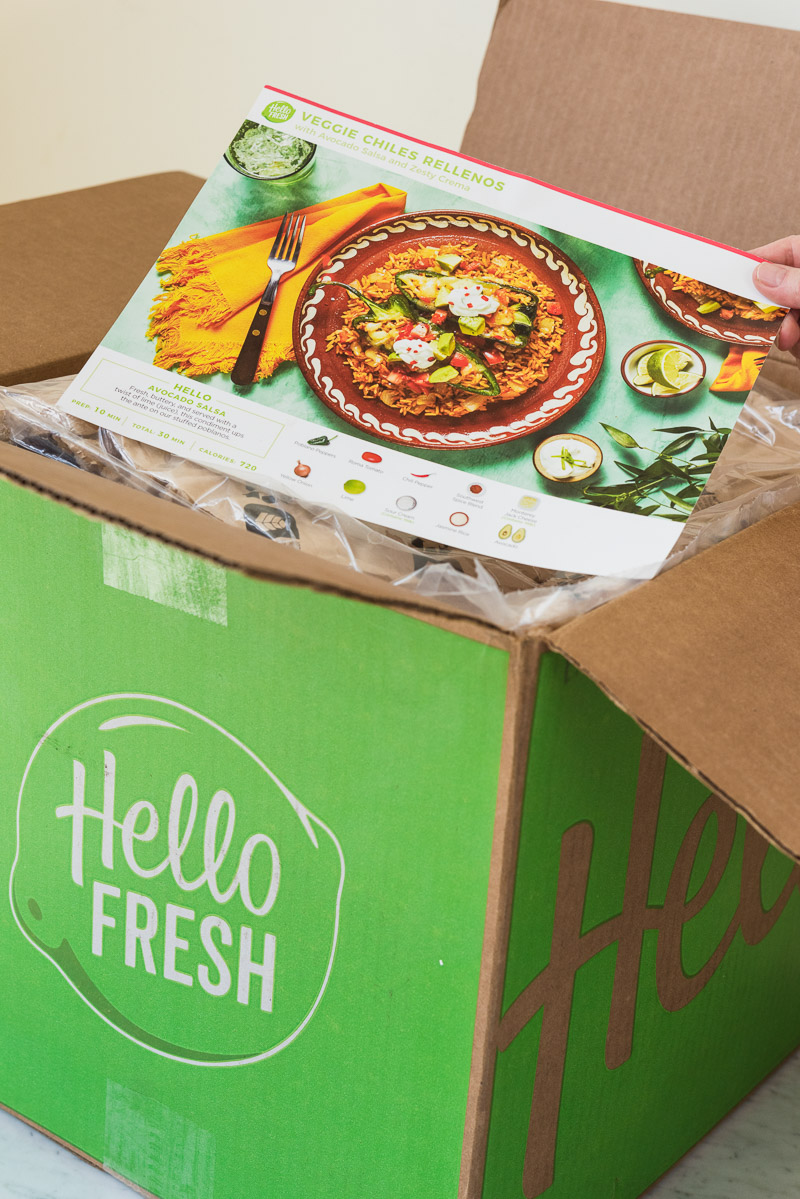 Hello Fresh recipe card and box | Hello Fresh Review, ©Alice G Patterson Photography, Meal Subscription Review