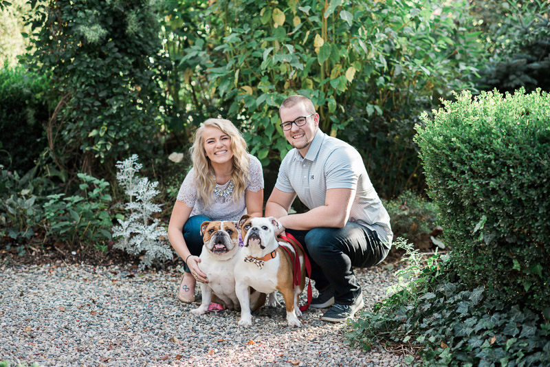 Couple and their English Bulldogs, ©Allie Siarto & Co. Photography | dog-friendly engagement session, East Lansing, MI