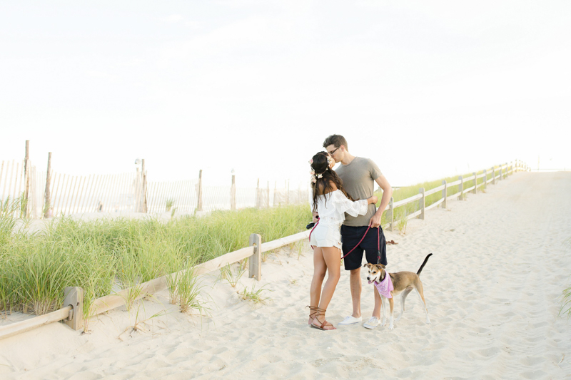 couple and their dog at the beach, ©Idalia Photography | Beach Haven, New Jersey