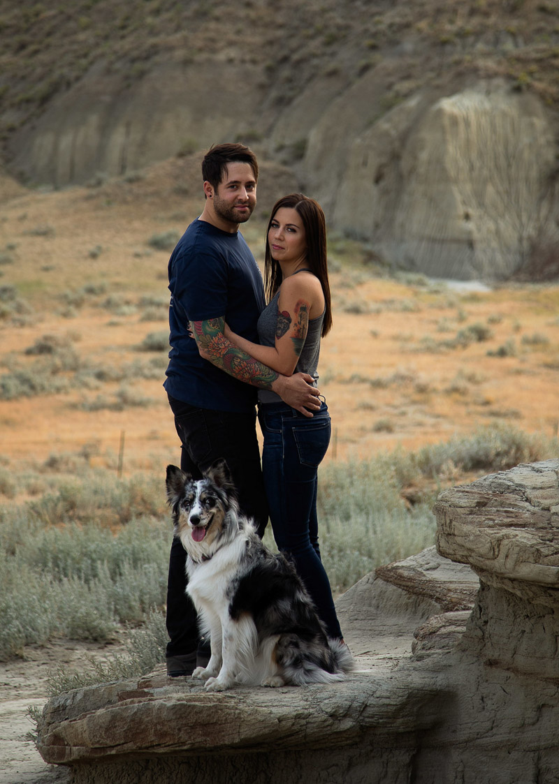 romantic engagement session with couple and their dog, ©Jackie Hall Photography