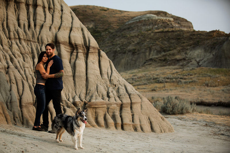 couple and dog at Big Muddy Valley, ideas for including dog in engagement photos, ©Jackie Hall Photography