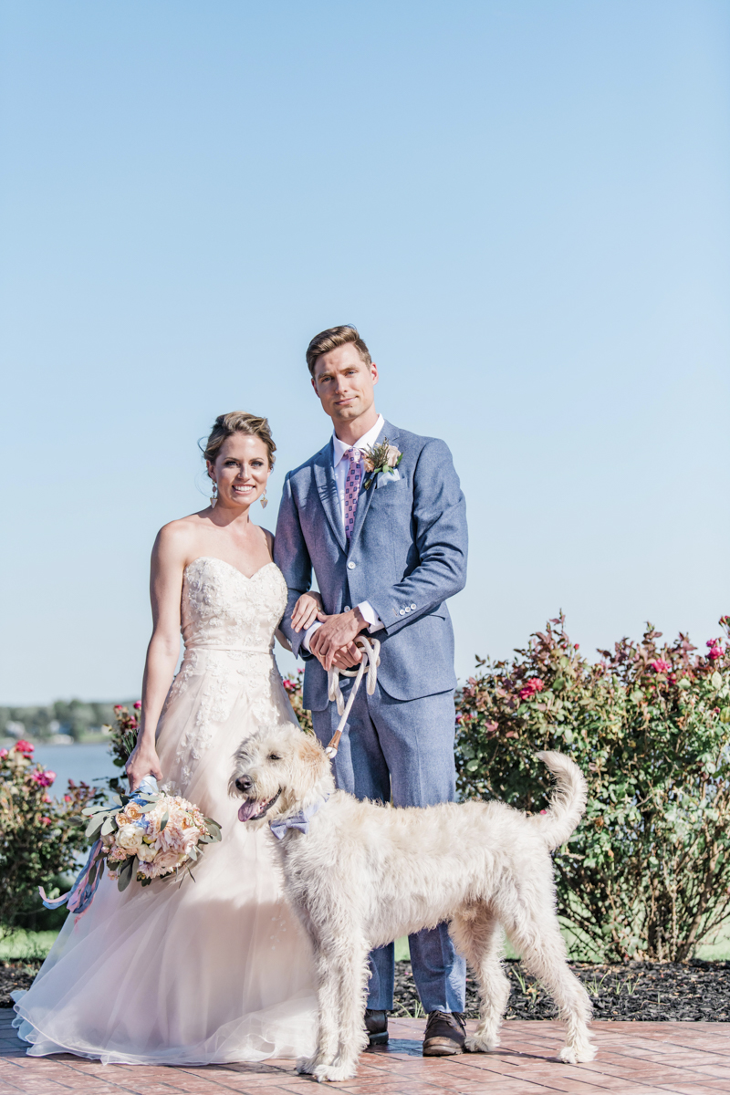 wedding couple and Labradoodle, dog-friendly Patriotic Styled Shoot