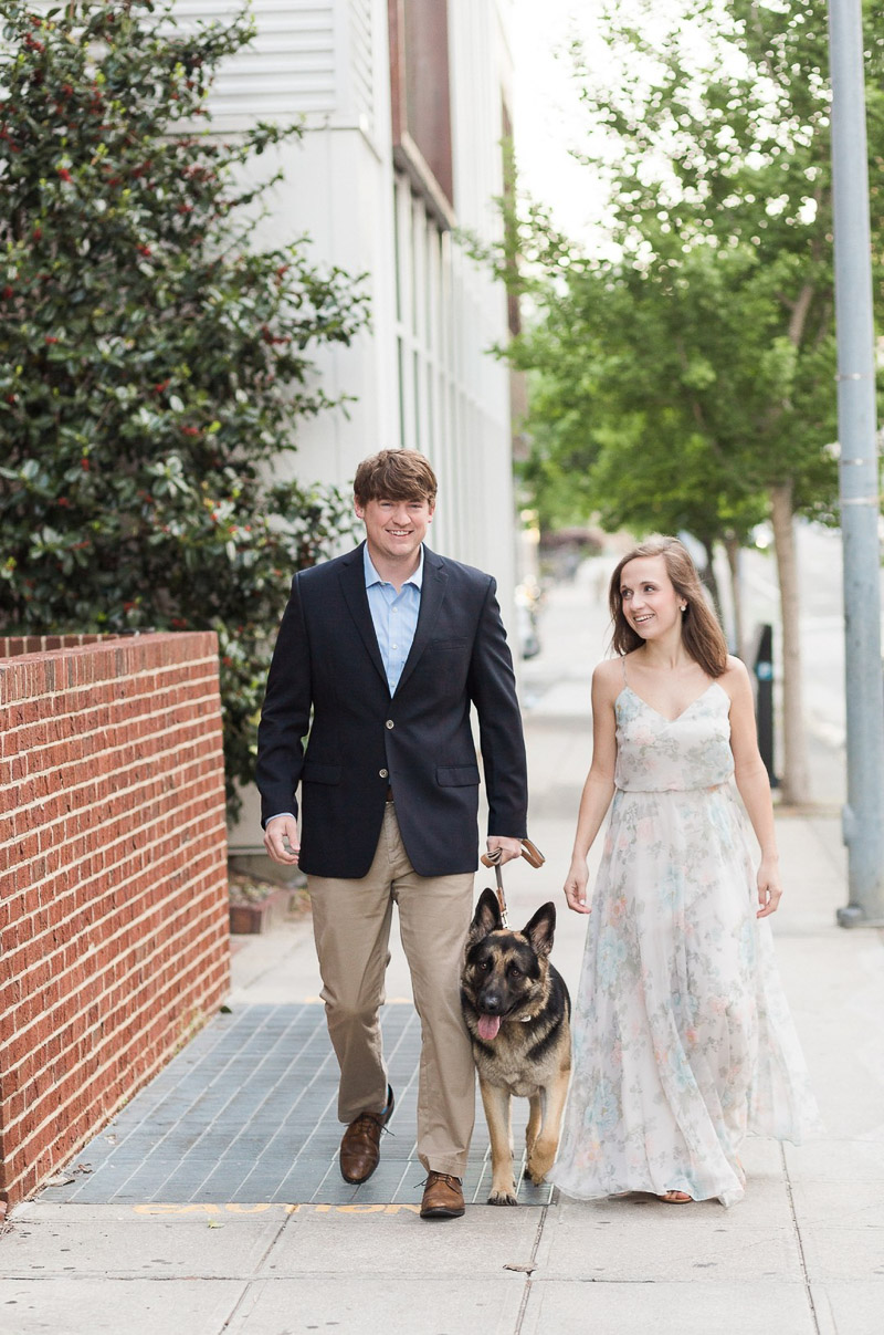 couple in date night clothes and their German Shepherd, ©Story & Rhythm, Raleigh, NC engagement session