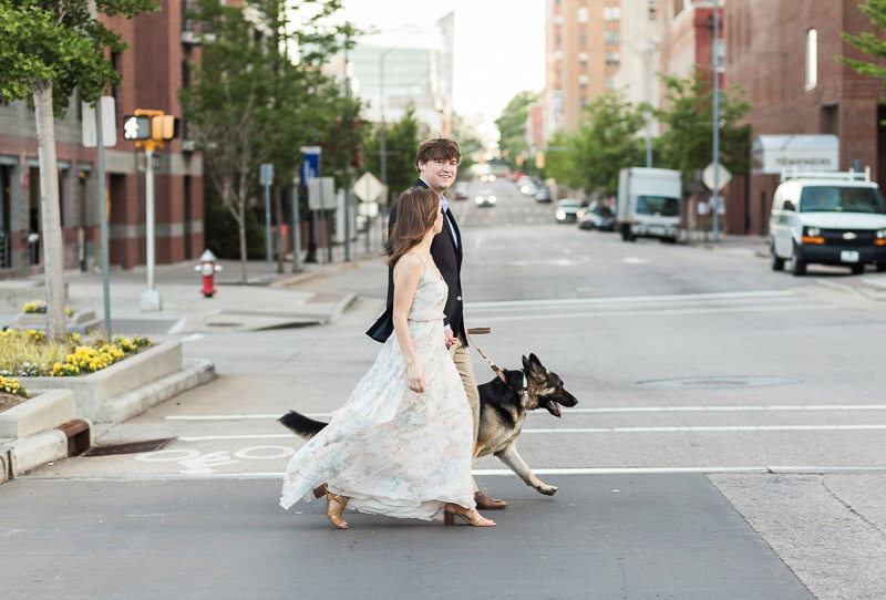 stylish couple walking their dog, ©Story & Rhythm, Raleigh, NC engagement session