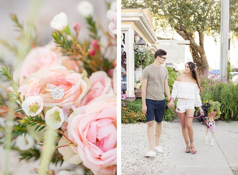 engagement ring in bouquet, dog-friendly engagement photos | ©Idalia Photography | Beach Haven, New Jersey