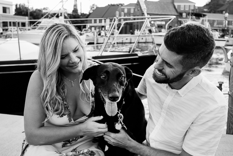 harbor engagement photos with a dog | ©Rachel Smith Photography, Annapolis, MD