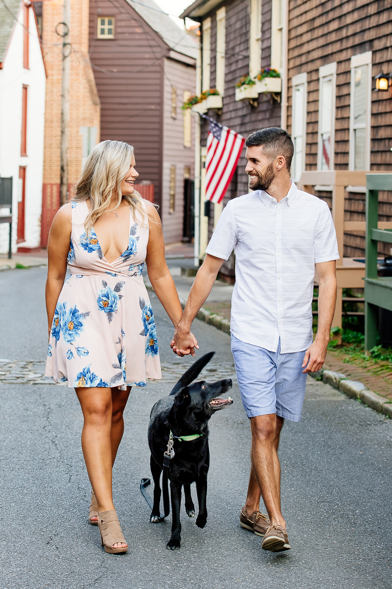 engagement photos with a black lab mix | ©Rachel Smith Photography, Annapolis, MD