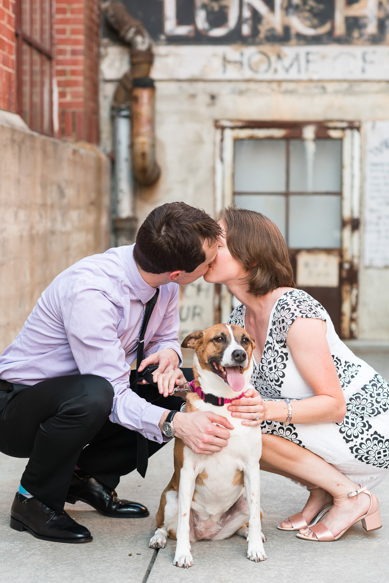 © Michelle and Sara Photography | American Tobacco Campus dog-friendly engagement photos