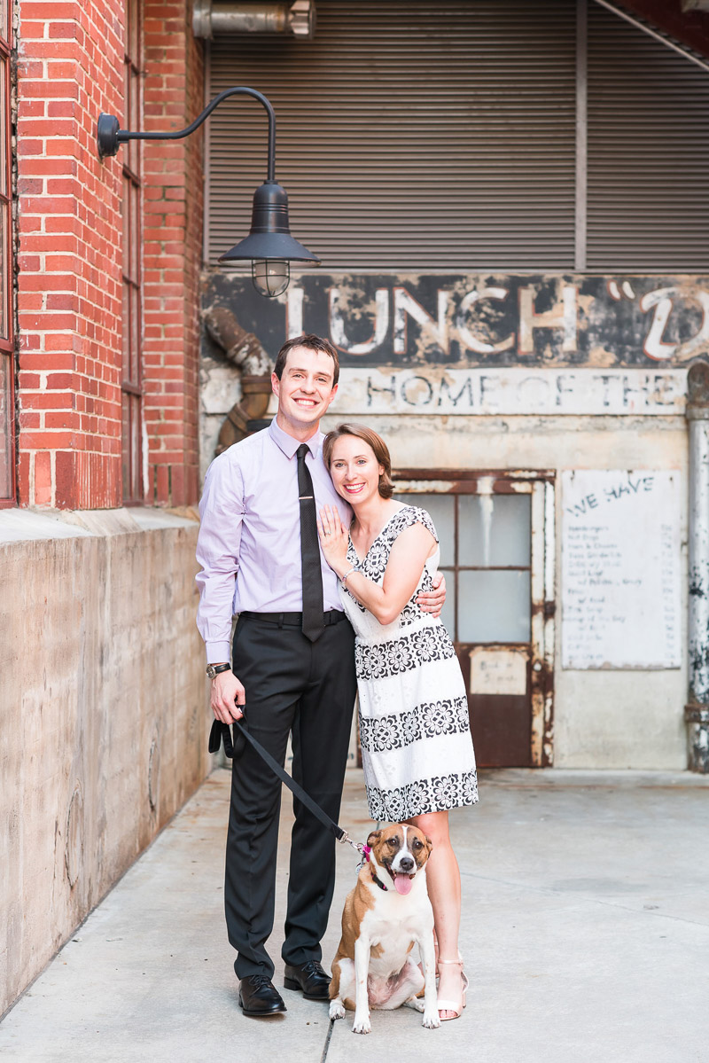 engagement photos with couple and cute mixed breed dog | © Michelle and Sara Photography | American Tobacco Campus