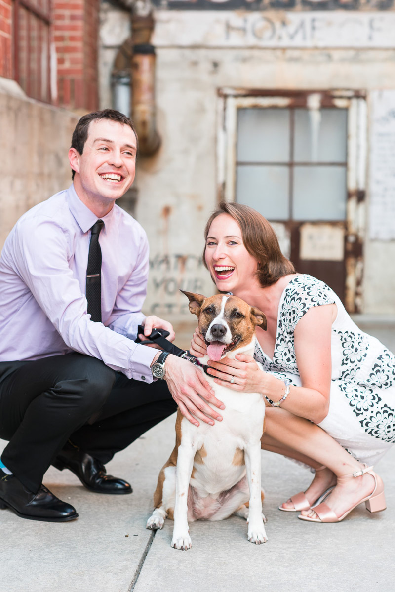 date night engagement photos with a dog, © Michelle and Sara Photography | American Tobacco Campus