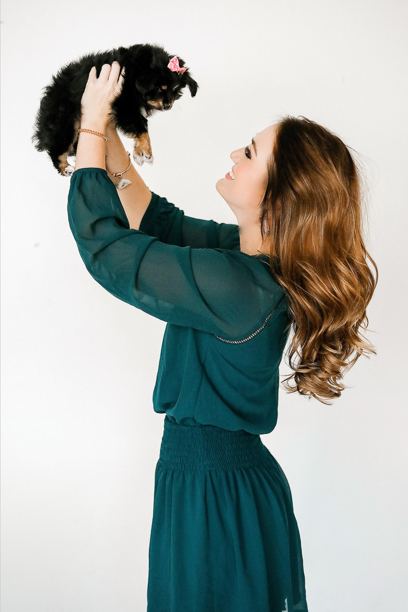 woman holding puppy, lifestyle dog photography, toy Australian Shepherd puppy ©Samantha Coleman Photography