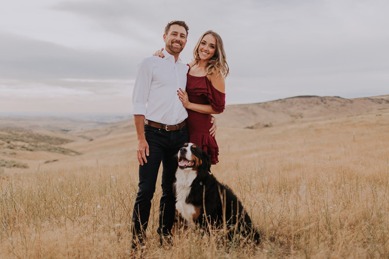 dog-friendly engagement photo ideas, Bogus Basin, ID, ©Abbey Armstrong Photography