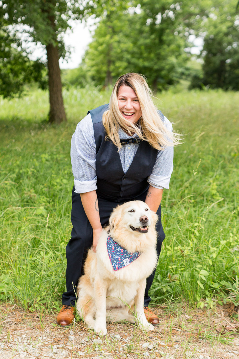 Happy woman and her dog, dog-friendly wedding photography, ©Jessica Hunt Photography, Columbia, SC