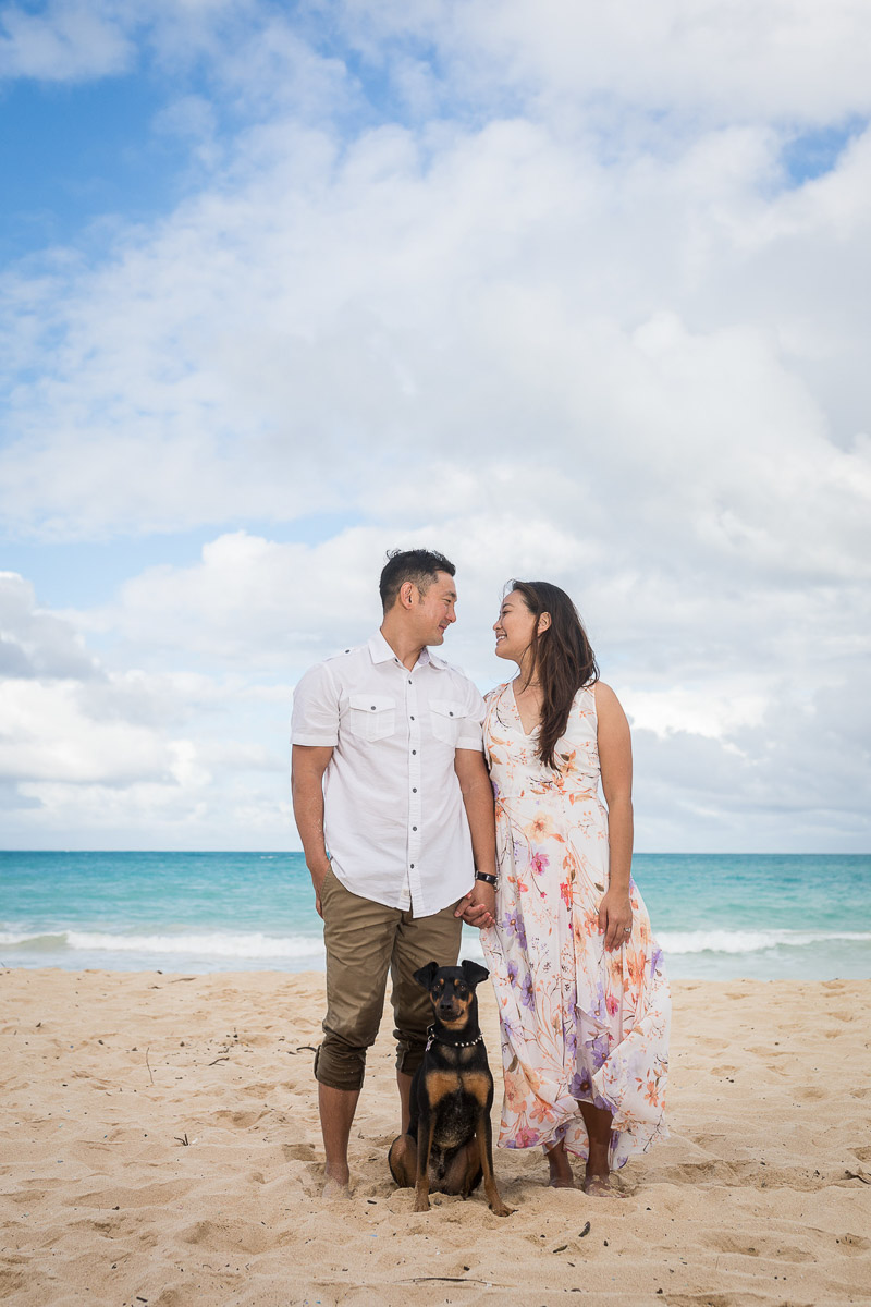 ways to include dog in engagement photos, ©VIVIDFotos | dog-friendly engagement photos, Waimanalo, Hawaii