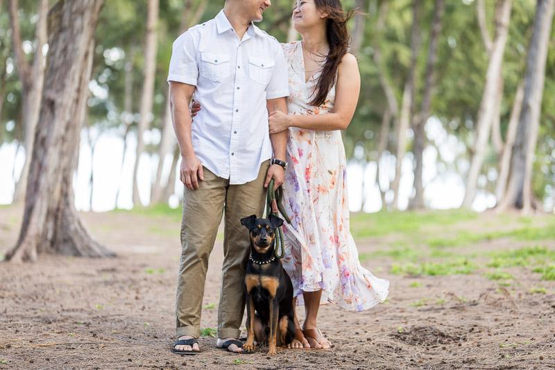 Min Pin and couple, ©VIVIDFotos | dog-friendly engagement photos, Waimanalo, Hawaii
