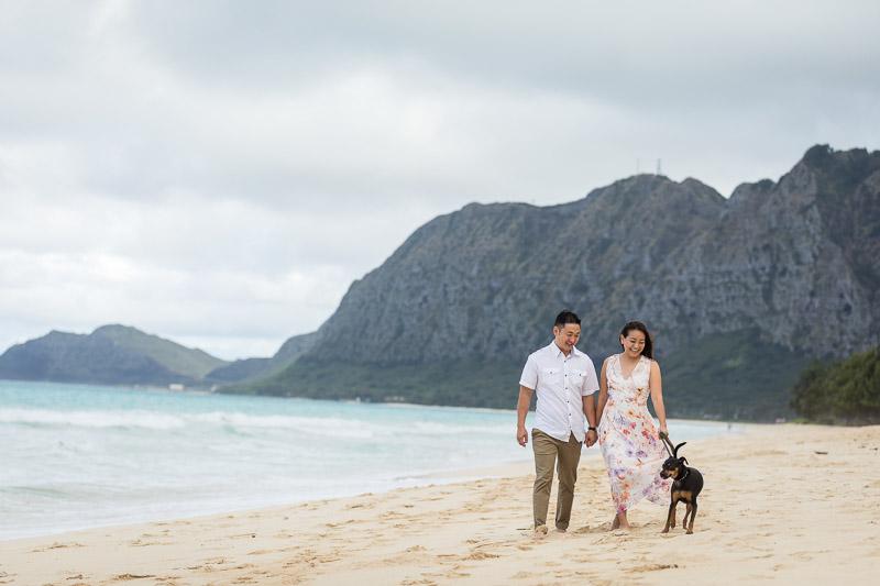 Hawaii engagement photos with a dog ©VIVIDFotos