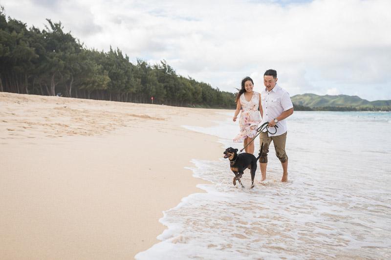 couple and their Min Pin mix running along the beach, ©VIVIDFotos | Waimanalo, Hawaii