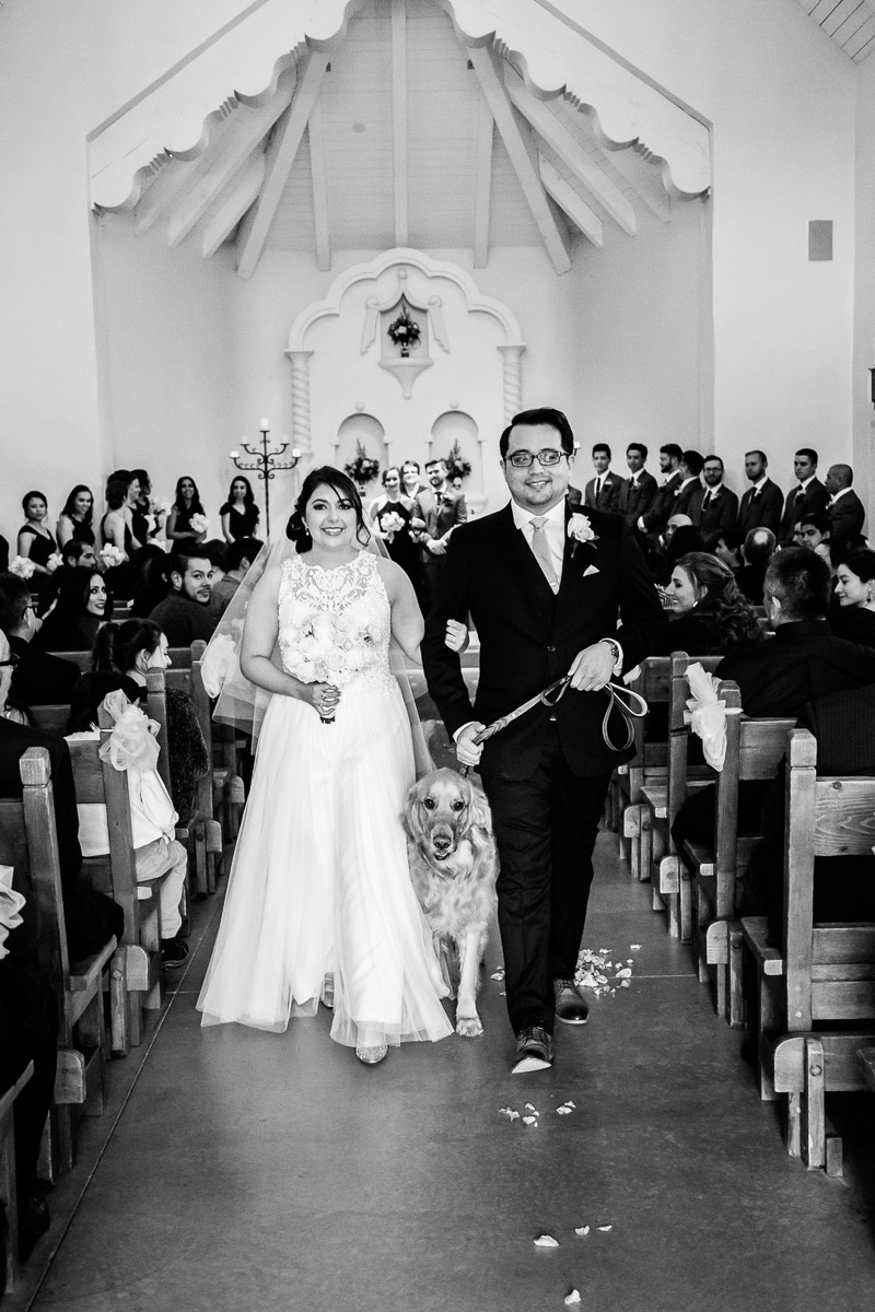 bride, dog, groom walking down the aisle, dog-friendly wedding | ©Melissa J Koko Las Cruces, NM Photographer