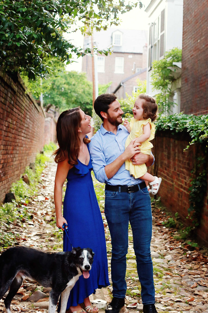 Old Town Alexandria family portrait session with mystery breed, ©Helena Woods