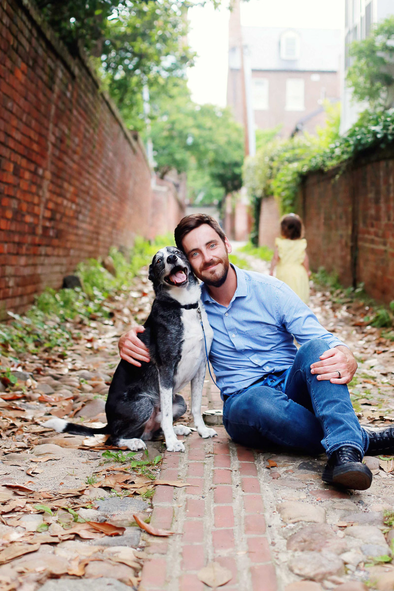 man and his dog in brick alley, ©Helena Woods man's best friend