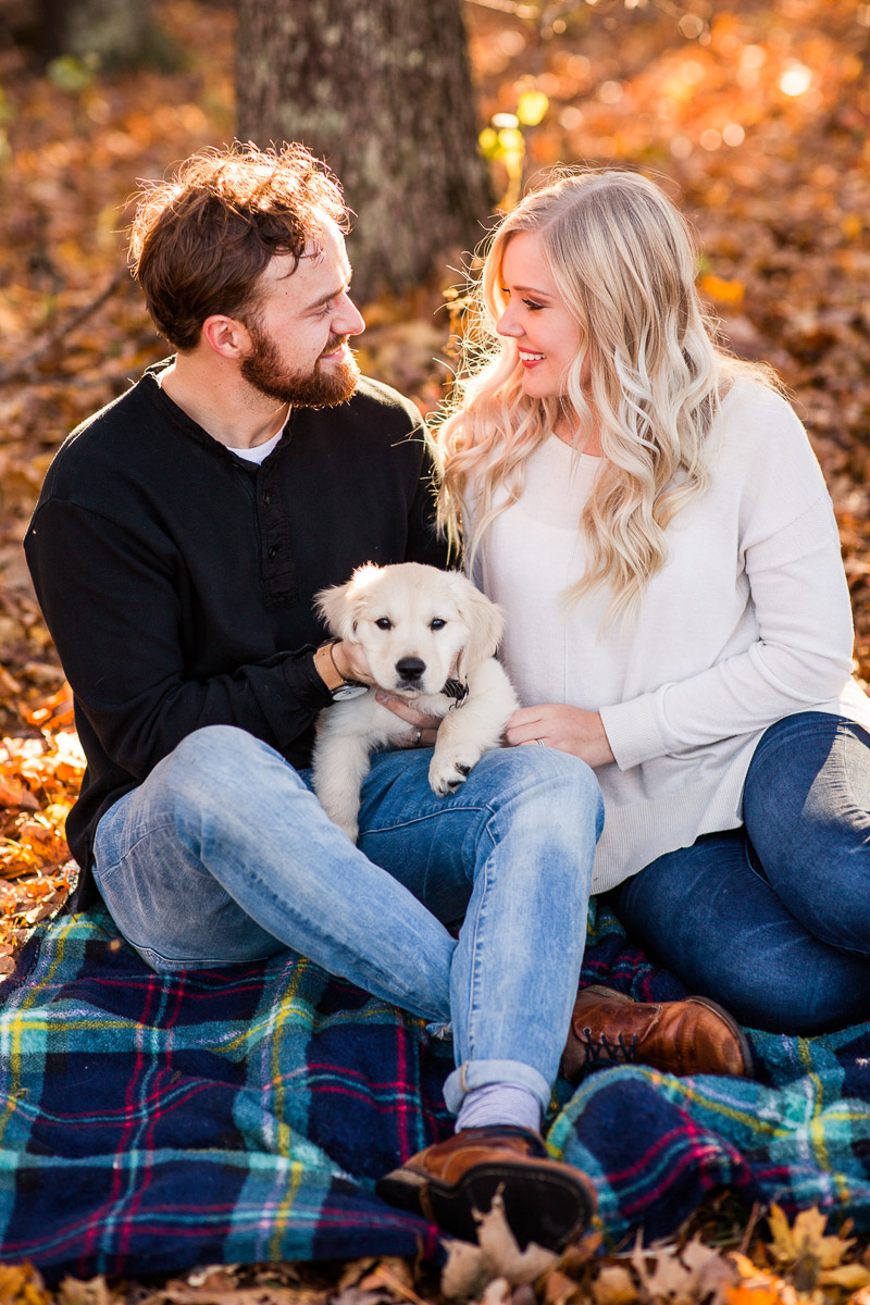 Fall anniversary photos with English Cream Golden Retriever pup ©Katelyn Workman Photography