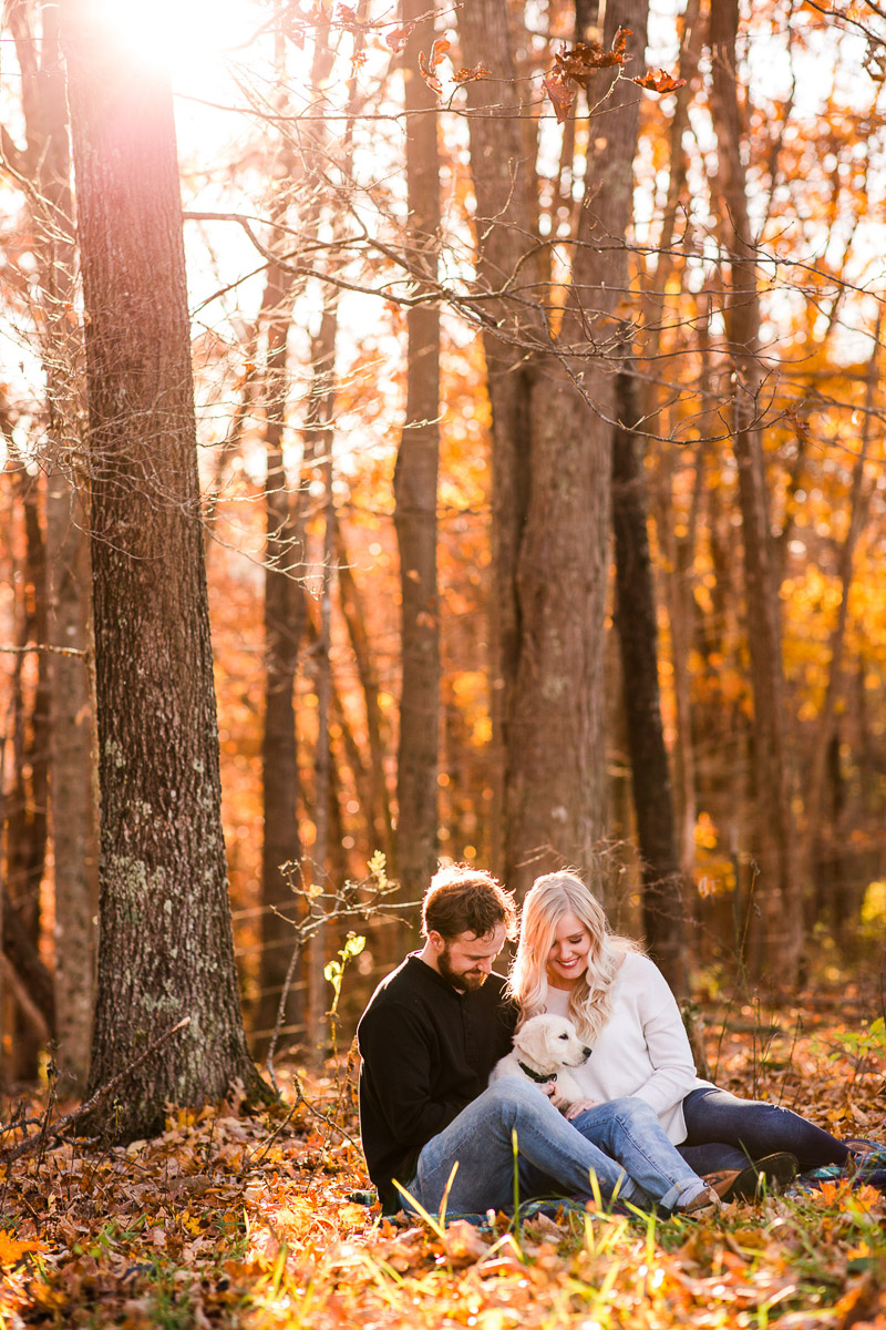 Fall family portraits with English Cream Retriever puppy, ©Katelyn Workman Photography
