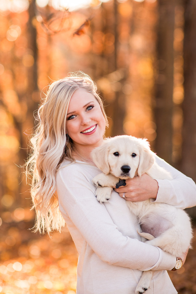 Woman holding adorable puppy, fall portrait ideas, ©Katelyn Workman Photography, Princeton, WV