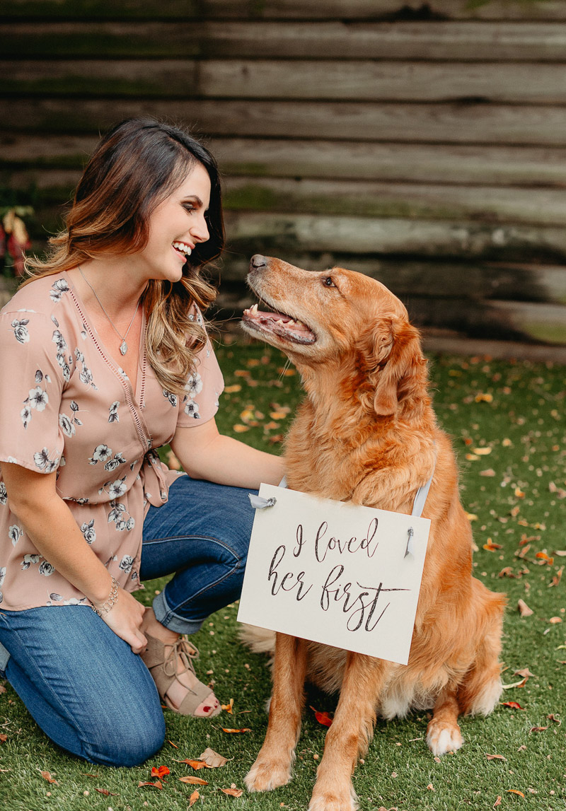 girl and her dog, including dogs in engagement photos | ©Dewitt For Love Photography