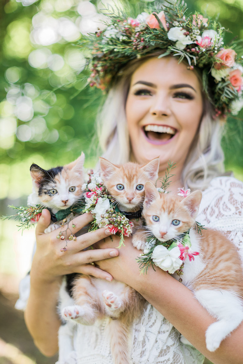 bride holding 3 kittens wearing beautiful floral collars | © R and M Bledsoe Photography