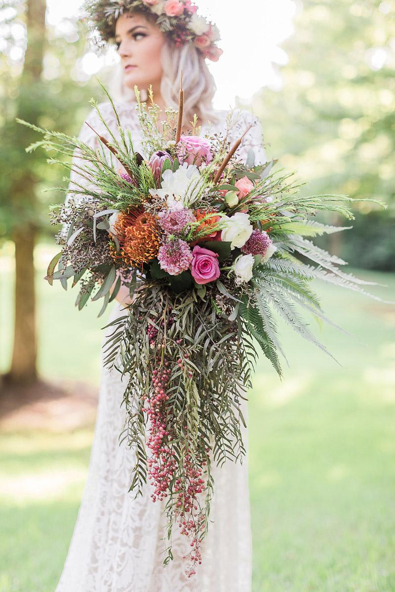 bride holding gorgeous bouquet, Houston bridal portraits, © R and M Bledsoe Photography