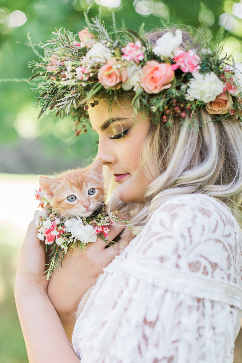 bride snuggling with kitten, Houston bridal portraits, © R and M Bledsoe Photography