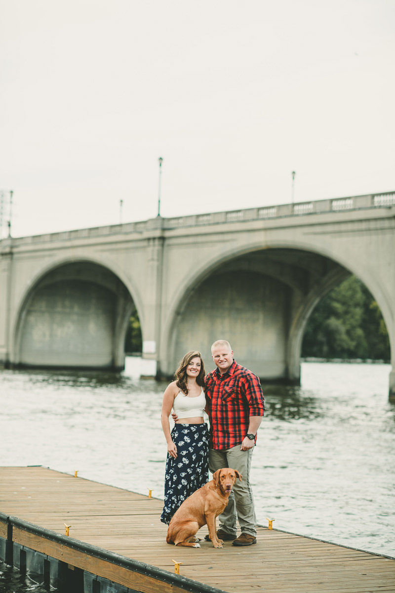 humans and dog on dock, ©Kate Spencer Photography | Dog friendly engagement session, Springfield, Illinois