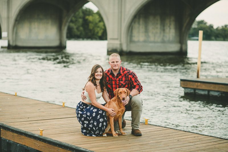 couple and their dog on dock, ©Kate Spencer Photography