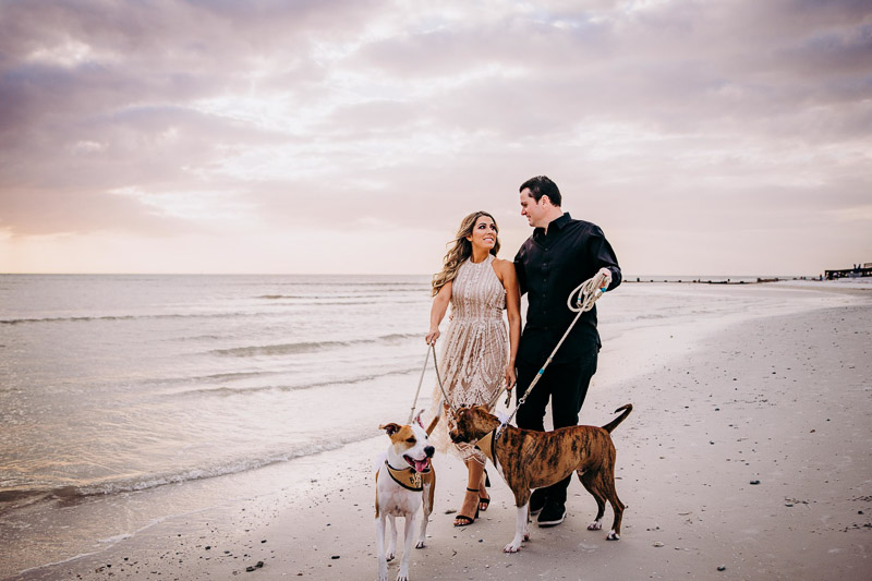couple walking their dogs on Honeymoon Island State Park beach, ©Landrum Photography