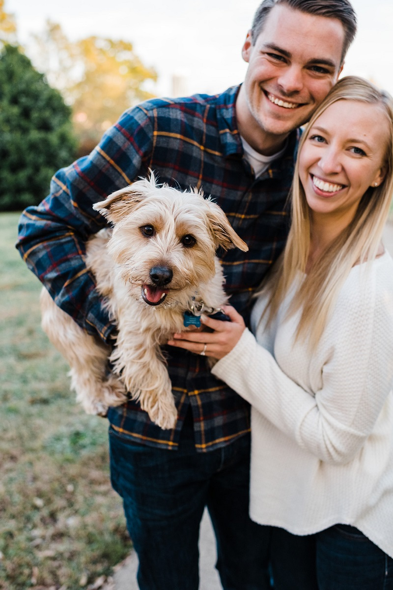 happy couple and their pup, ©Easterday Creative, Charlotte, NC | pet-friendly engagement photos