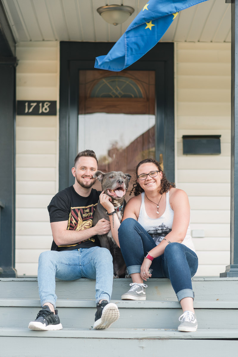 couple and dog sitting on porch steps, ©Rose Courts Photography | dog-friendly family photos,, Fort Wayne, Indiana