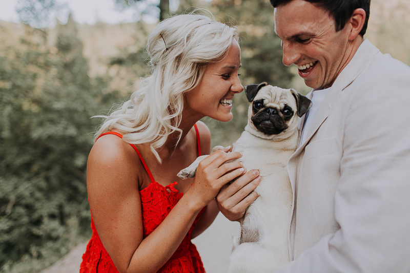 Pocatello, Idaho, engagement session with a Pug | ©Abbey Armstrong Photography
