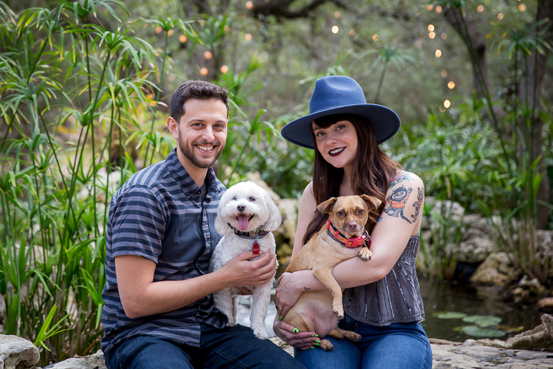 Driftwood Texas engagement photos with small dogs | ©Wildflower Barn Photography
