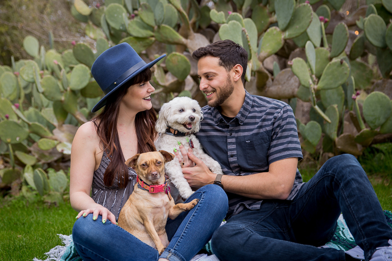 couple holding dogs in their laps, pet-friendly engagement pictures | ©Wildflower Barn Photography Driftwood, Texas