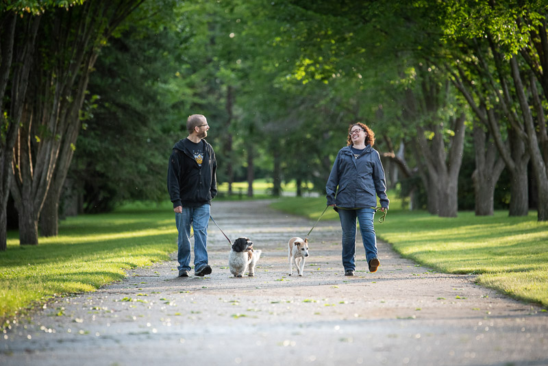 couple walking their pups, dog friendly family portraits, ©Chase Magic Photography
