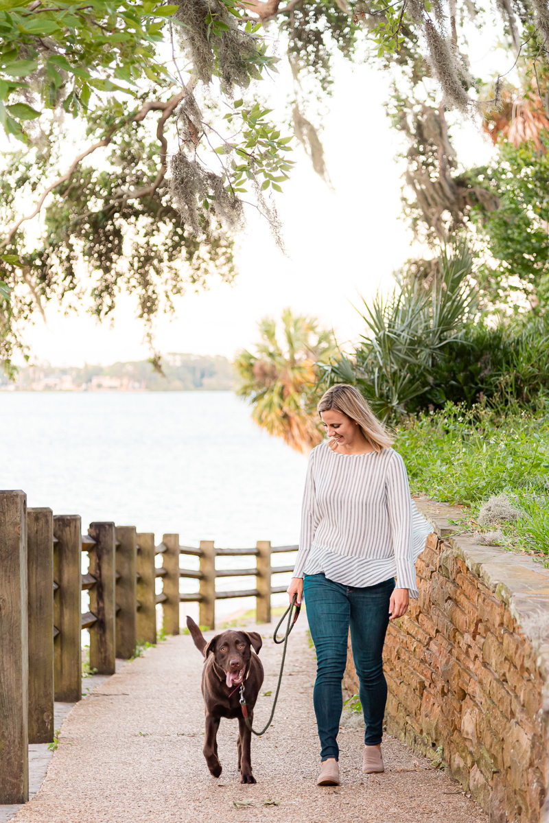 woman walking her Lab, ©Devon Tabor Photography dog-friendly lifestyle photoshoot