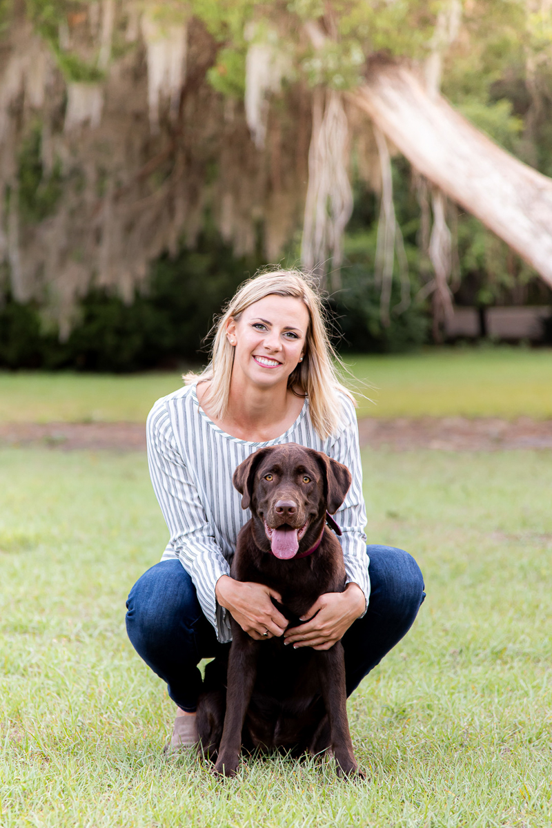lifestyle portraits of woman and chocolate Labrador Retriever | Devon Tabor Photography