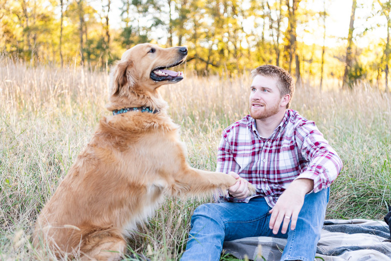 man shaking Golden Retriever mix's paw, man's best friend, lifestyle dog photography | ©Tasha Barbour Photography