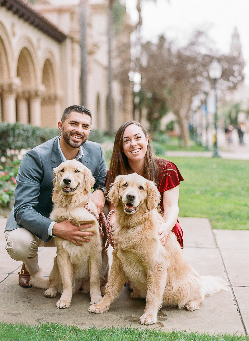 Balboa Park engagement session with dogs, ©The Ganeys