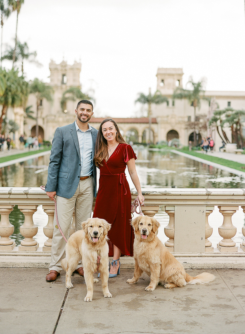 engagement session with Golden Retrievers, Balboa Park, ©The Ganeys
