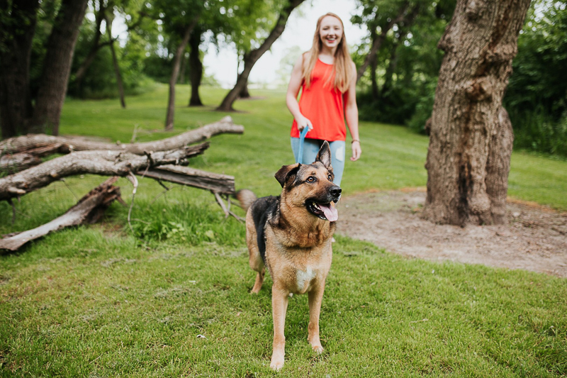 woman walking her dog ©Fly Away Photography, Sioux Falls, SD | lifestyle dog photography