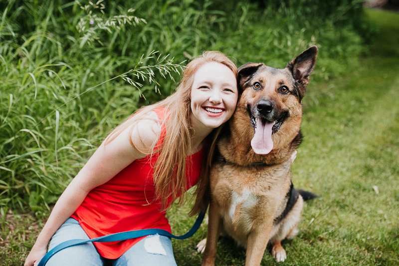 happy woman and handsome German Shepherd/Catahoula mix | Fly Away Photography, Sioux Falls, SD