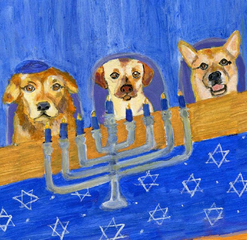 Hanukkah card with dogs,